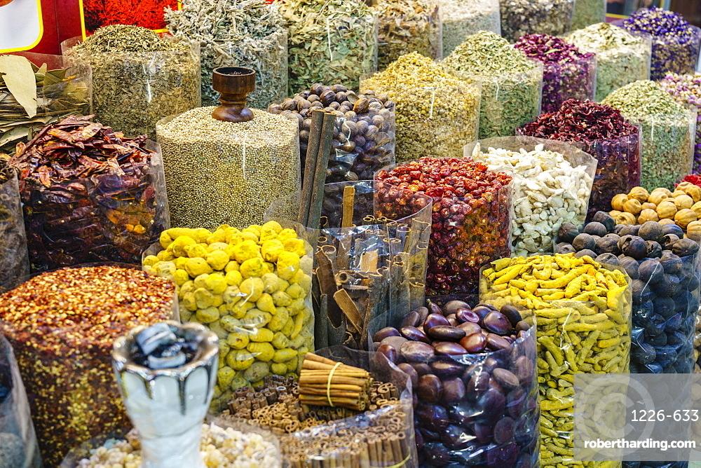 Spices for sale in the Spice Souk, Al Ras, Deira, Dubai, United Arab Emirates