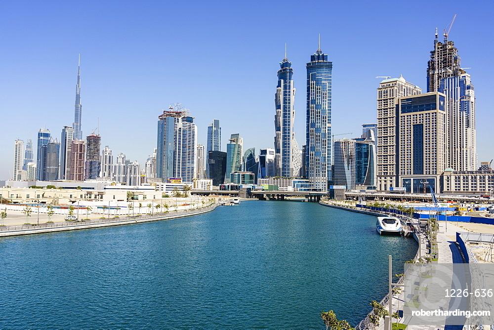 Dubai skyline from Dubai Water Canal, Business Bay, Dubai, United Arab Emirates, Middle East