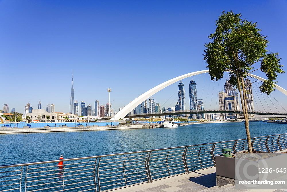 Tolerance Bridge, a new pedestrian bridge spanning Dubai Water Canal, Business Bay, Dubai, United Arab Emirates