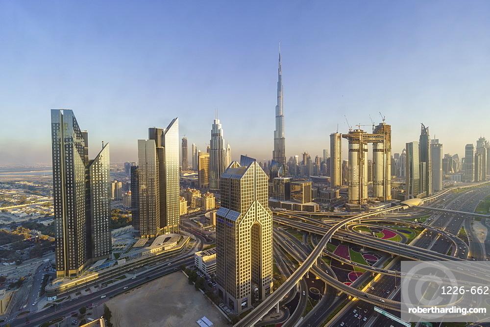 Dubai skyline and Sheikh Zayed Road Interchange, Dubai, United Arab Emirates Dubai, United Arab Emirates, Middle East
