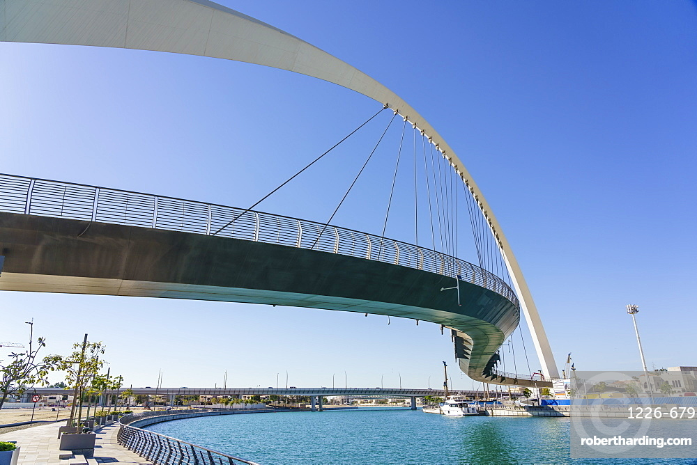 Tolerance Bridge, a new pedestrian bridge spanning Dubai Water Canal, Business Bay, Dubai, United Arab Emirates