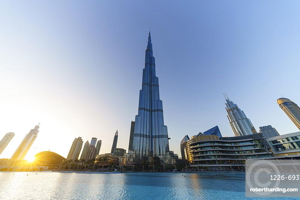 Burj Khalifa and Lake at sunset, Dubai, United Arab Emirates, Middle East