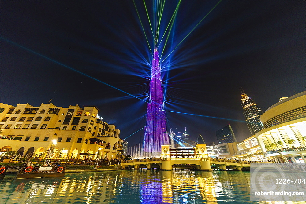 Burj Khalifa Light and Laser Show, Dubai Mall and Burj Khalifa Lake, Dubai, United Arab Emirates