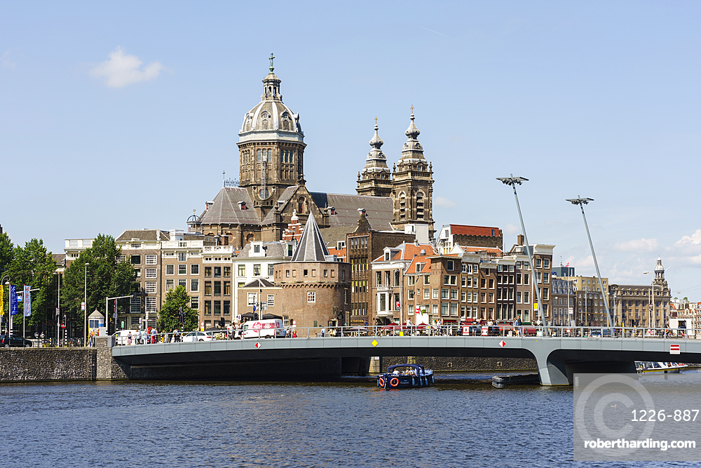 City view with St Nicholas Church, Amsterdam, Netherlands