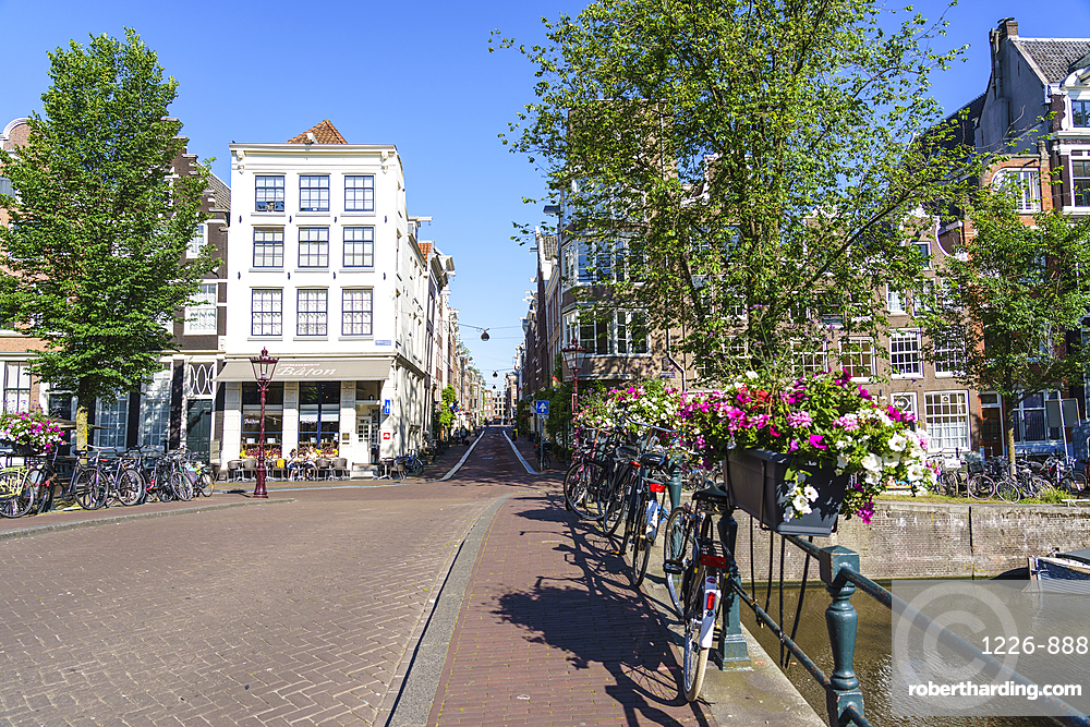 A bridge over Herengracht canal, Amsterdam, North Holland, The Netherlands, Europe