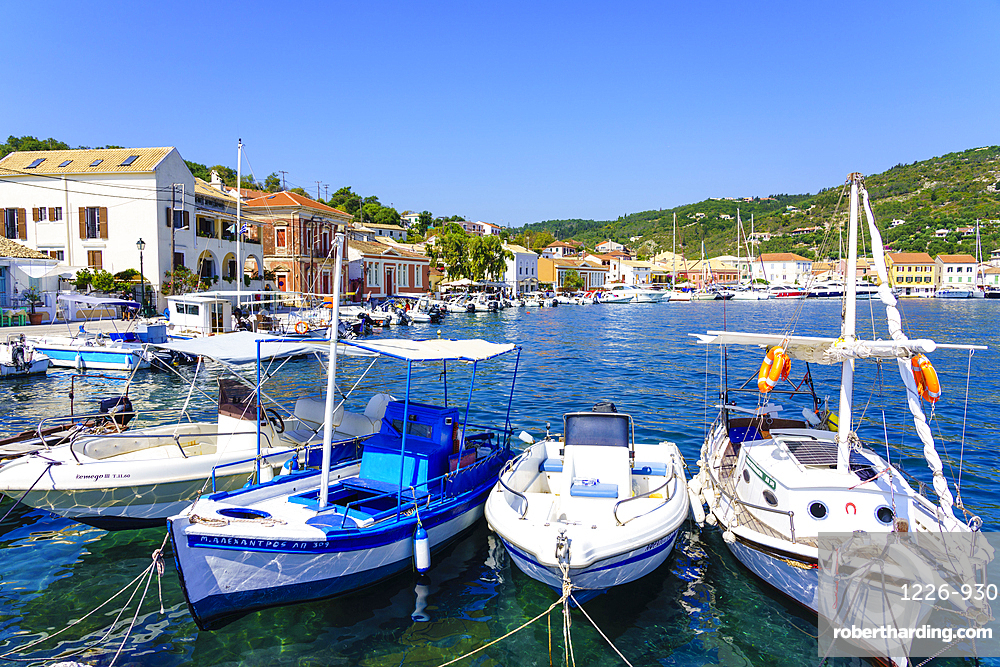 The pretty town of Gaios, the main port and harbour on the island, Paxos, Ionian Islands, Greece