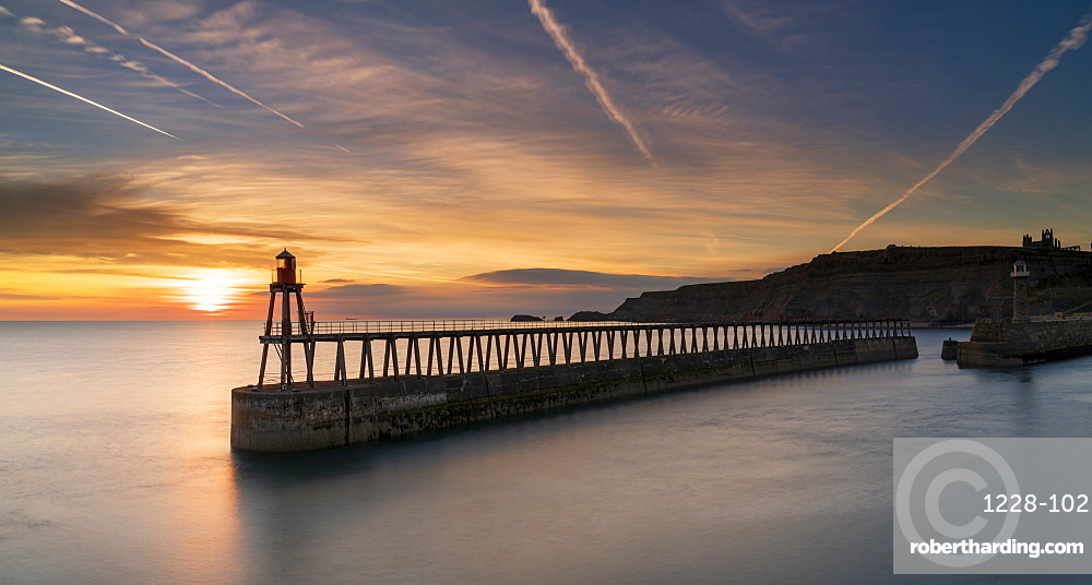 Sunrise over Whitby harbour and River Esk in mid-September, Yorkshire, England, United Kingdom, Europe