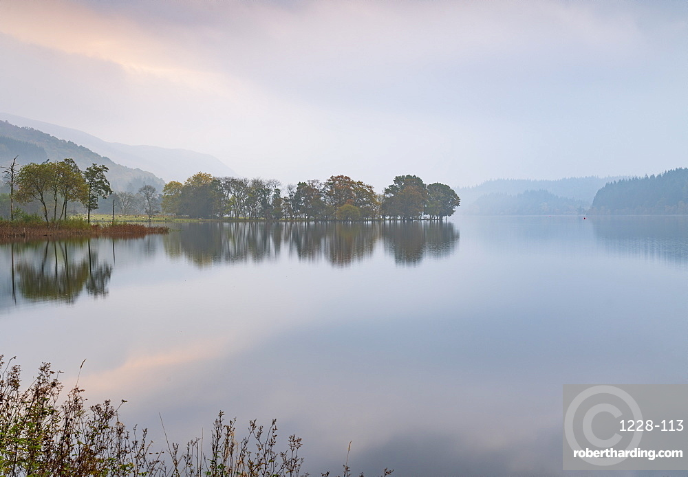 A misty autumn morning at Kinlochard, Loch Ard, Aberfoyle, Loch Lomond and The Trossachs National Park, Stirlingshire, Scotland, United Kingdom, Europe