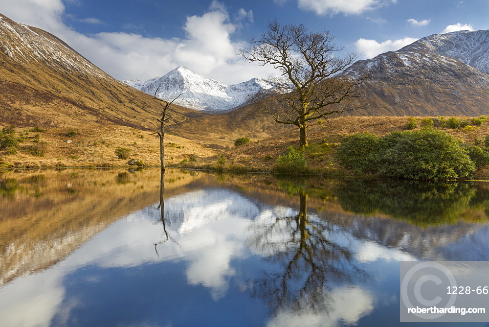 Tranquil loch reflection in Glen Etive, Glencoe, Highlands, Scotland, United Kingdom, Europe
