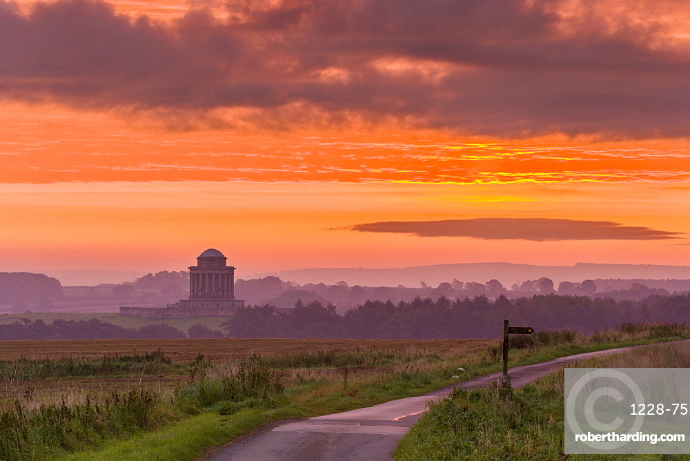 September sunrise over the Mausoleum on the Castle Howard Estate, North Yorkshire, Yorkshire, England, United Kingdom, Europe