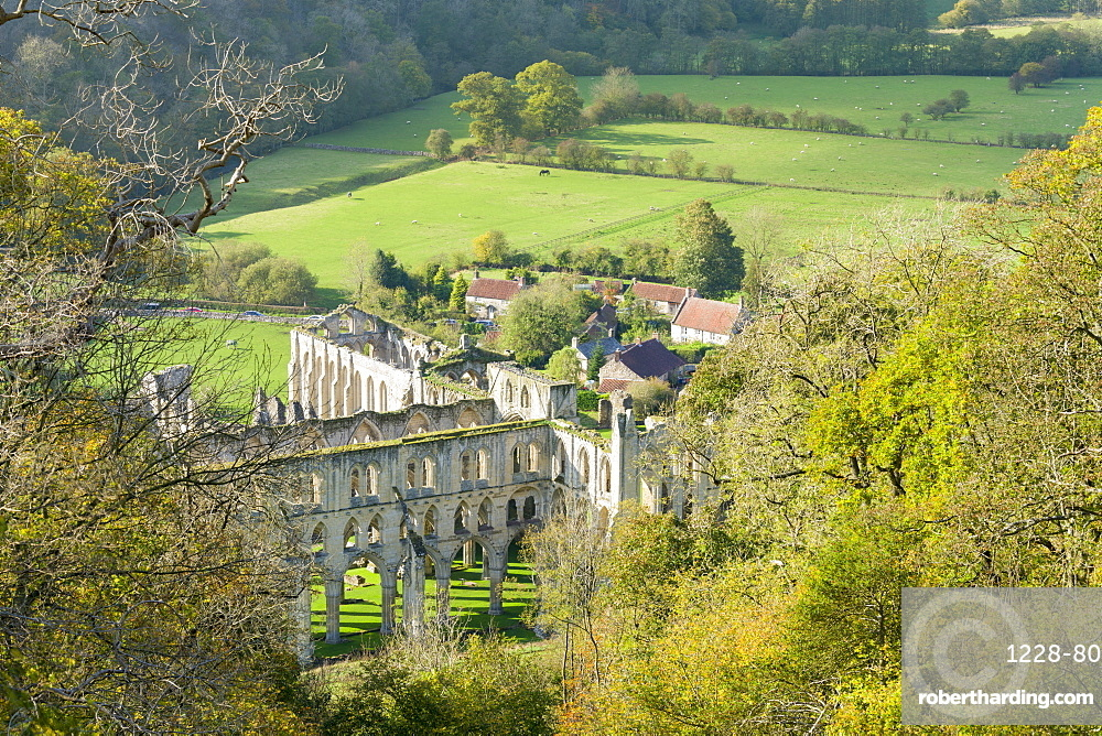 Rievaulx Abbey and remote village near Helmsley in North Yorkshire, England, United Kingdom, Europe