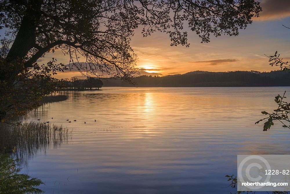 Sunrise over Kinlochard, Loch Ard, Aberfoyle, The Trossachs, Scotland, United Kingdom, Europe