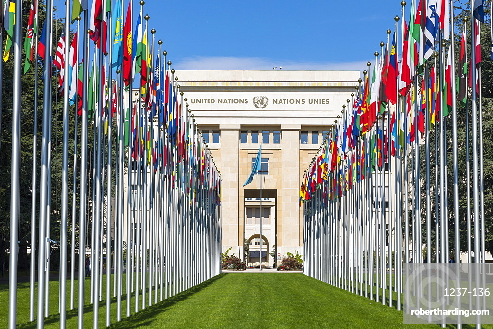 Building A and Flags, The United Nations Office at Geneva (UNOG), Geneva, Switzerland, Europe