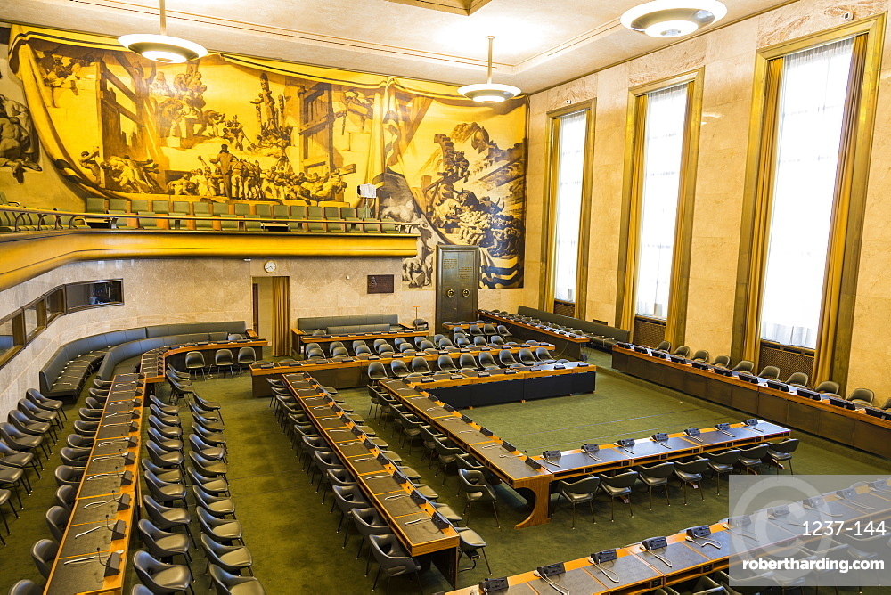 Council Chamber, The Palace of Nations, The United Nations Office at Geneva (UNOG), Geneva, Switzerland, Europe