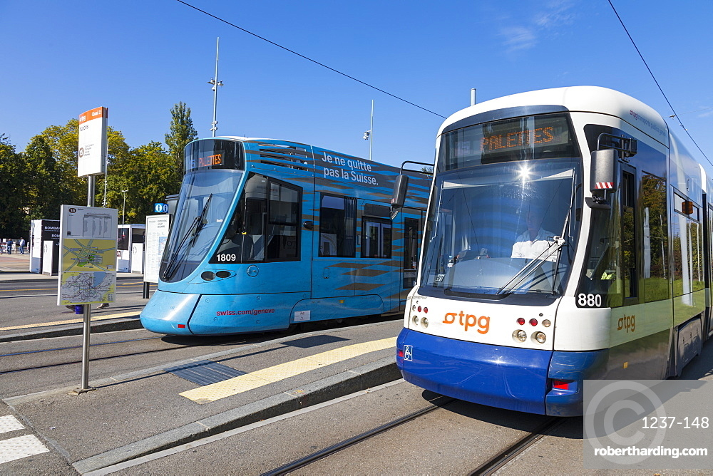 Flexity Outlook Cityrunner on right and Tango on left, trams at Place des Nations, Geneva, Switzerland, Europe