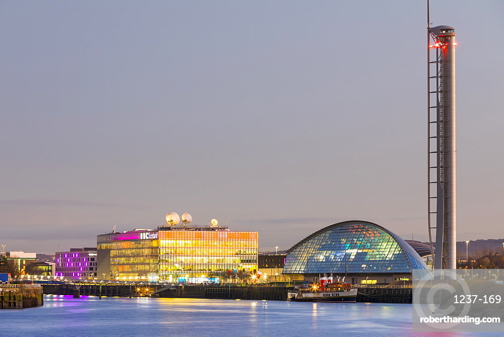 BBC Scotland, Science Museum and Glasgow Tower, Pacific Quay at dusk, Glasgow, Scotland, United Kingdom, Europe