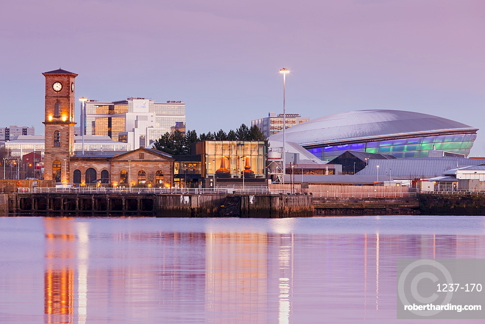 Queen's Dock, Old Pump House, Clydeside Distillery and Hydro, at dusk, Glasgow, Scotland, United Kingdom, Europe