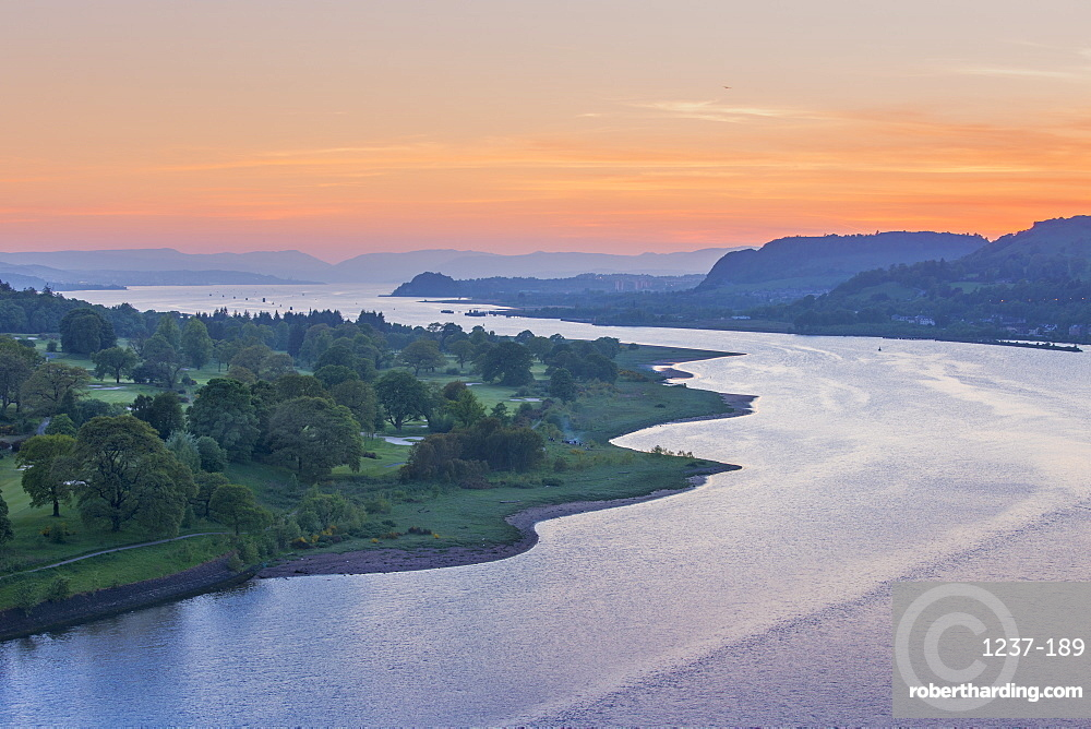 Dusk over River Clyde viewed from the Erskine Bridge, Scotland, United Kingdom, Europe
