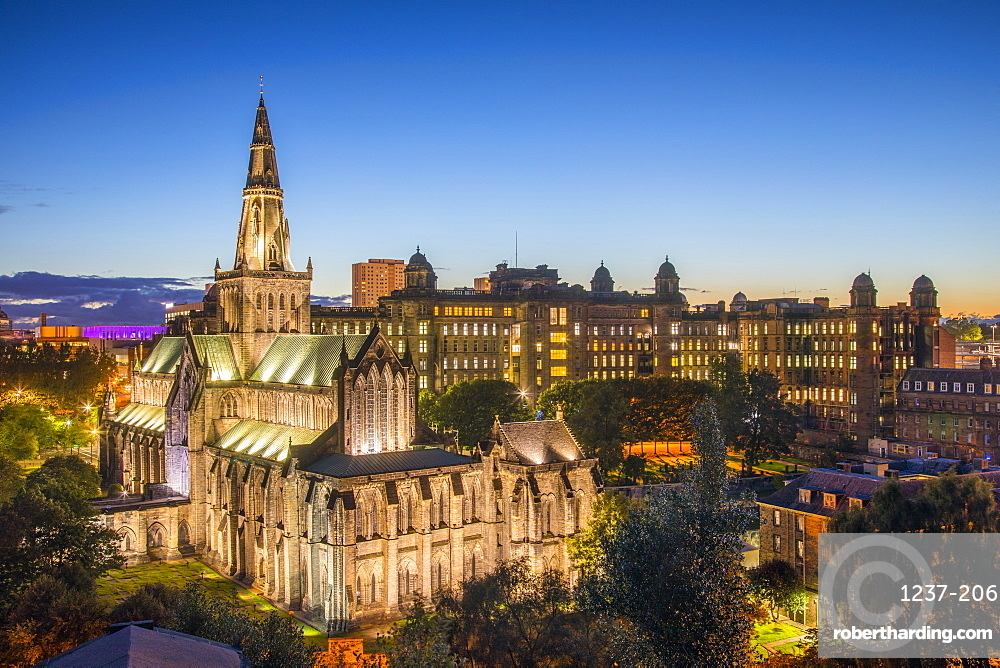 Glasgow Cathedral and Royal Infirmary at dusk, Glasgow, Scotland, United Kingdom, Europe