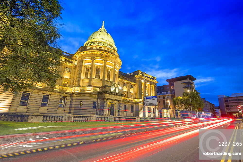 Mitchell Library with traffic trail lights at dusk, Glasgow, Scotland, United Kingdom, Europe.