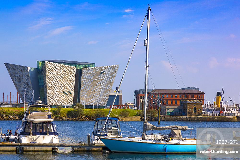 Boats moored in front of Titanic Belfast, Belfast, Northern Ireland, United Kingdom, Europe
