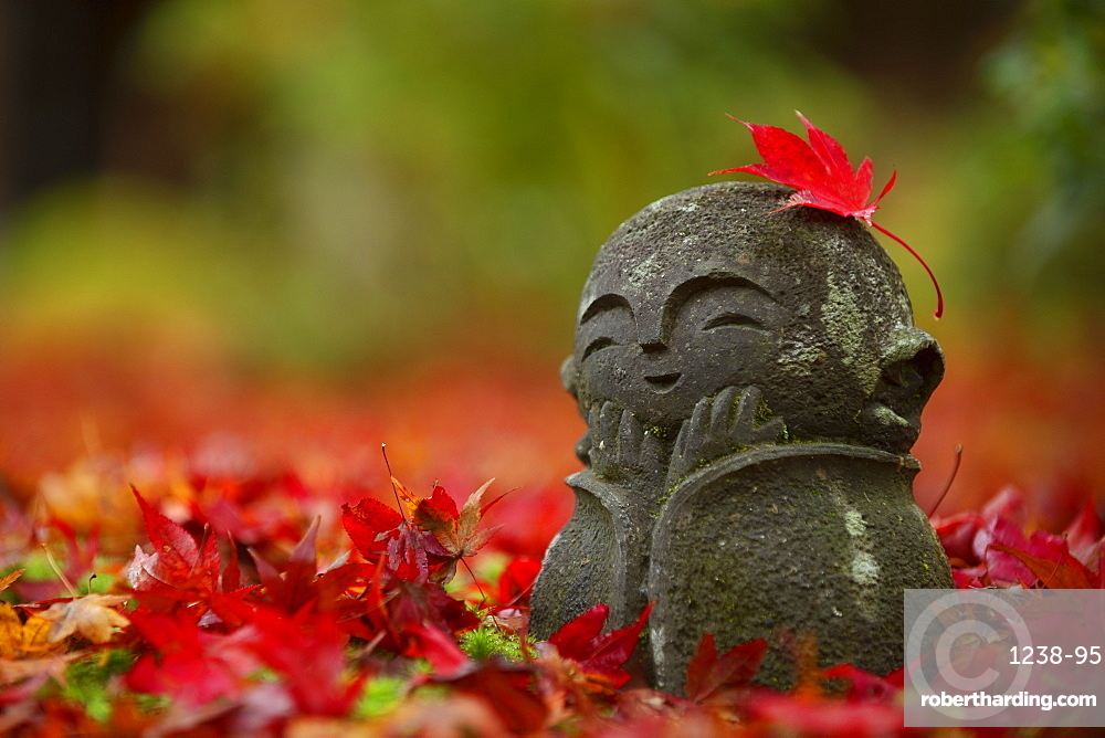 Little jizo statue among fallen maple leaves, Enko-ji temple, Kyoto, Japan, Asia