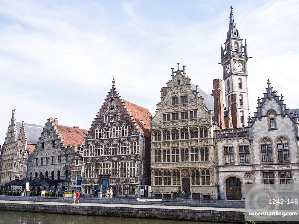 Riverside scene, Ghent, Belgium, Europe
