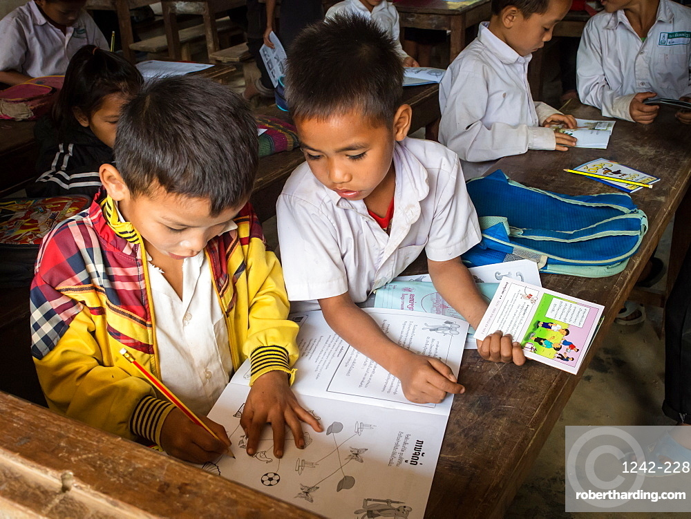 Young boys in school classroom, Houy Mieng, Laos, Indochina, Southeast Asia, Asia