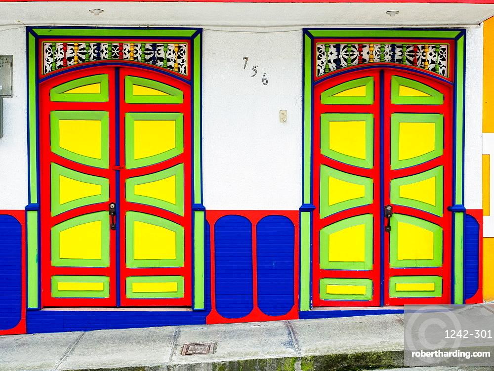 Colorful doors, Filandia, Coffee Region, Colombia, South America