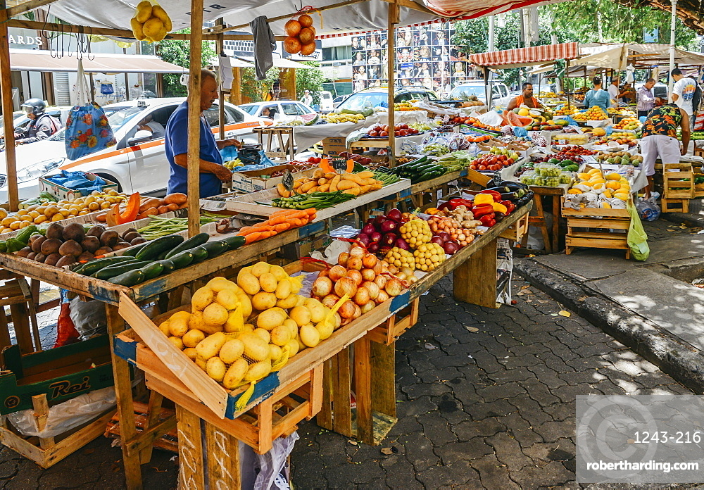 Assortment of various fruits and vegetables in a street market in Rio de Janeiro, Brazil
