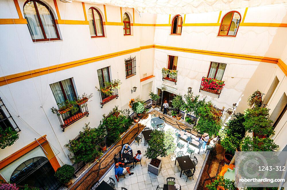 Inward-facing Arabic-style courtyard in Cordoba, Andalucia, Spain