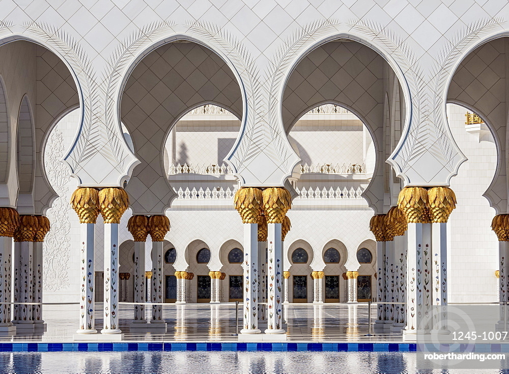 Sheikh Zayed bin Sultan Al Nahyan Grand Mosque, detailed view, Abu Dhabi, United Arab Emirates, Middle East