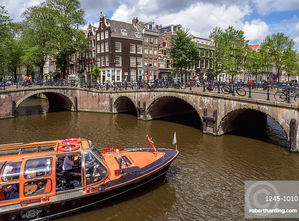 Keizersgracht and Leliegrach Canals and Bridges, Amsterdam, North Holland, The Netherlands, Europe