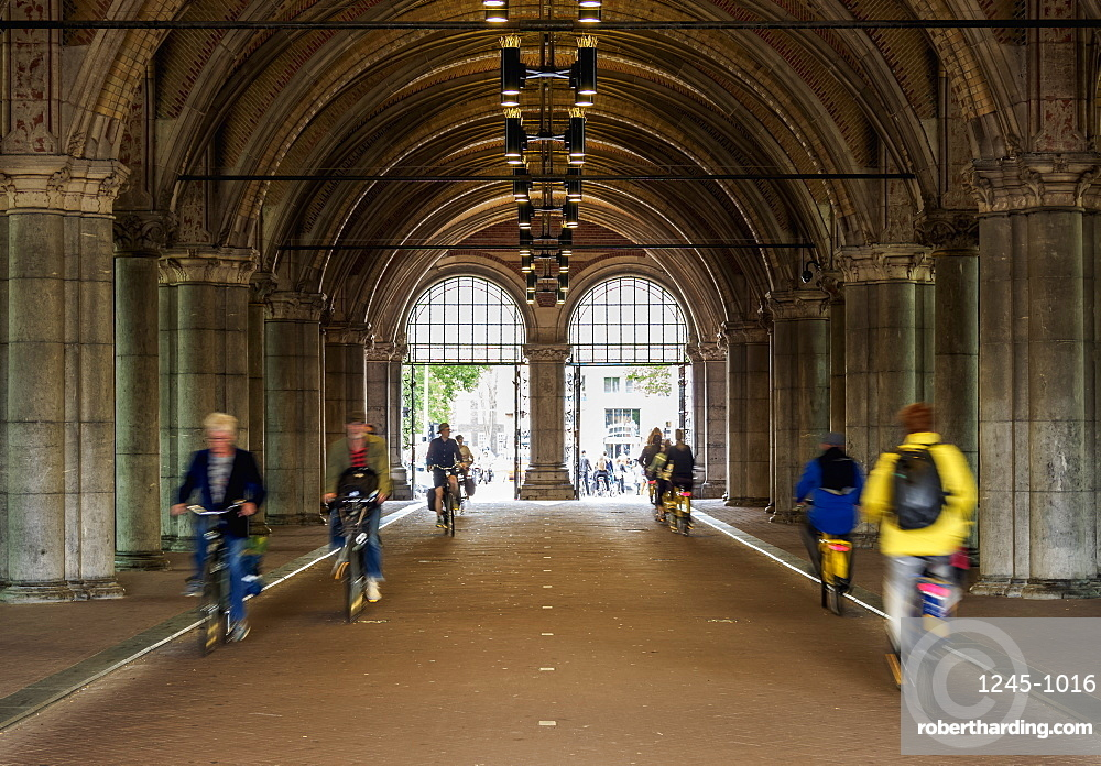 Bike Path under the Rijksmuseum at the Museumplein, Amsterdam, North Holland, The Netherlands, Europe