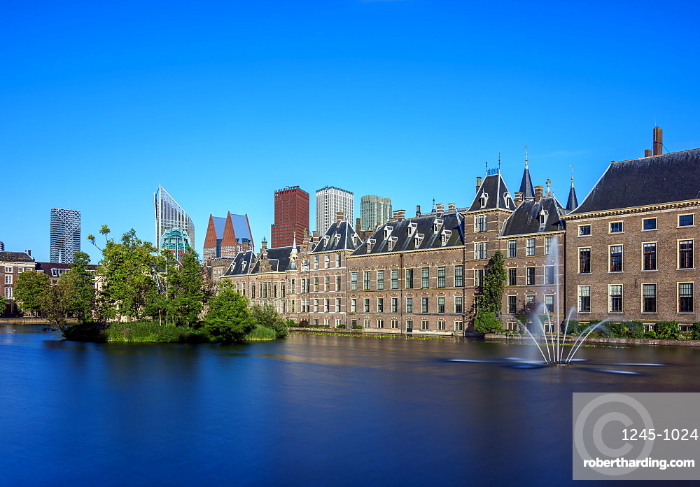 Hofvijver and Binnenhof, The Hague, South Holland, The Netherlands, Europe