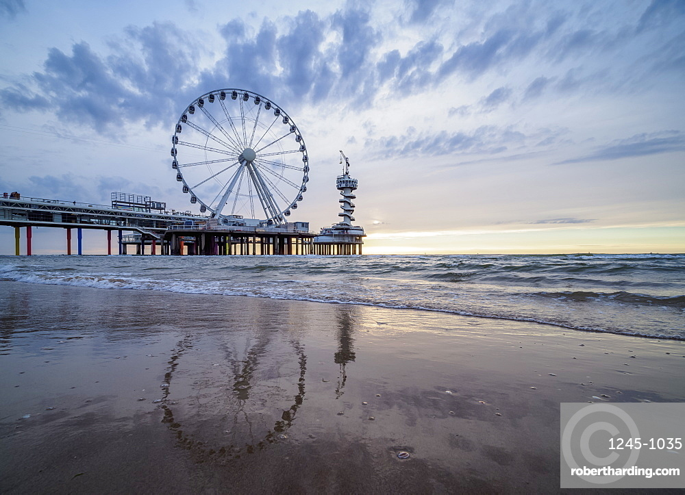 Pier and Ferris Wheel in Scheveningen, The Hague, South Holland, The Netherlands, Europe