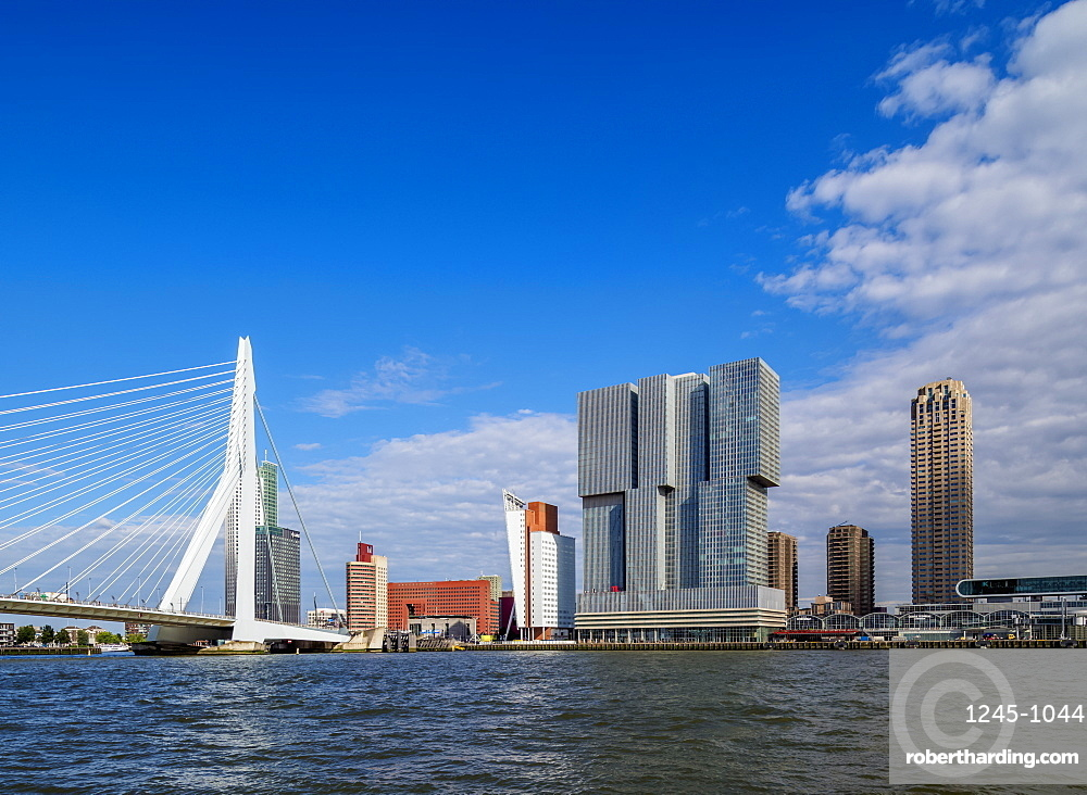 Erasmus Bridge and Kop van Zuid Skyline, Rotterdam, South Holland, The Netherlands