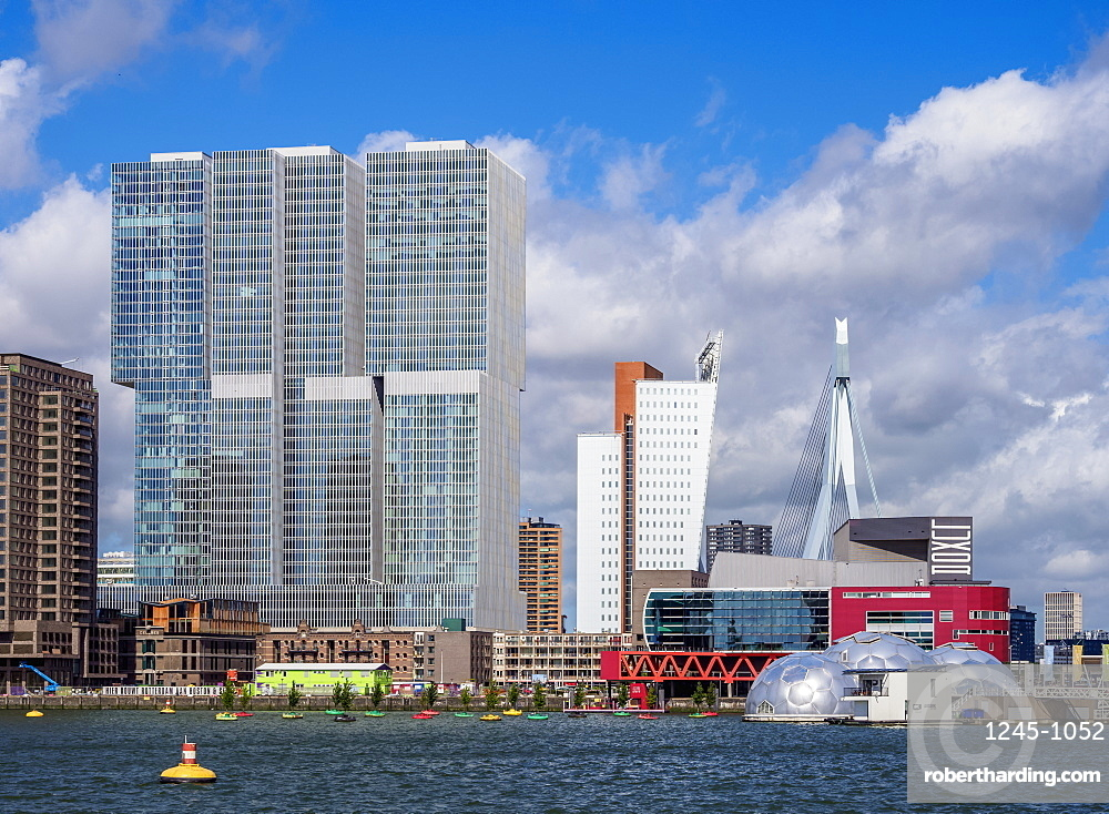 Kop Van Zuid skyline seen from Rijnhaven, Rotterdam, South Holland, The Netherlands, Europe