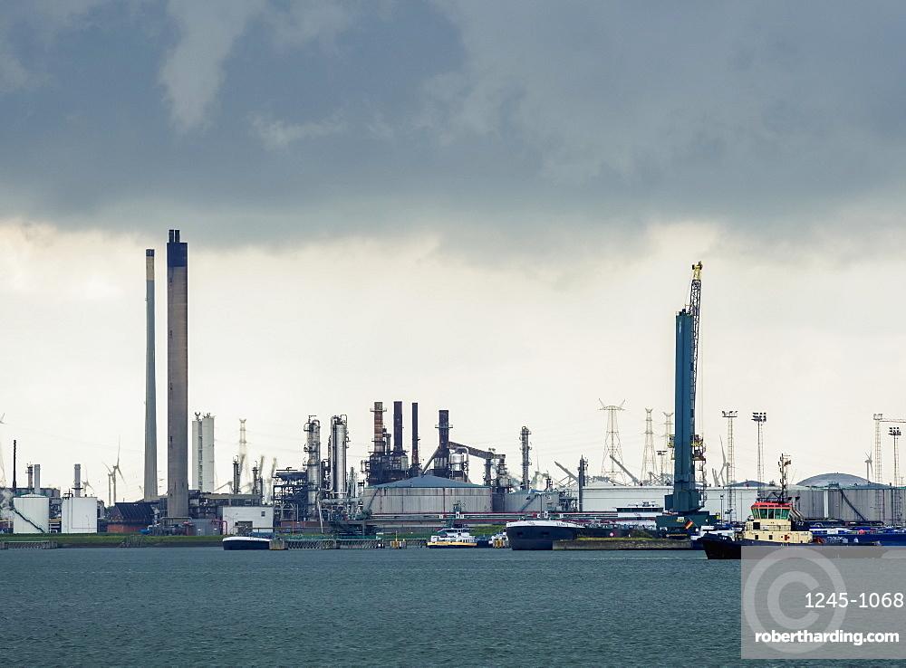 Industrial landscape of the Port of Antwerp, Belgium, Europe