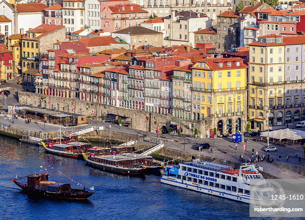 Colourful houses of Ribeira, elevated view, Porto, Portugal