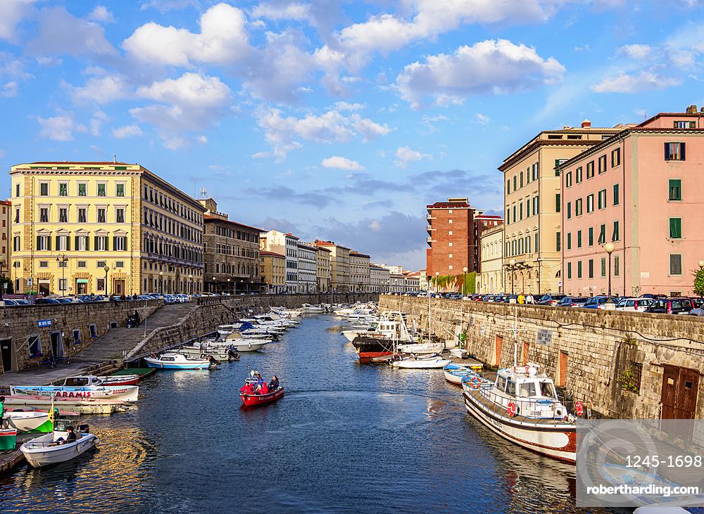 Canal in Venezia Nuova, Livorno, Tuscany, Italy