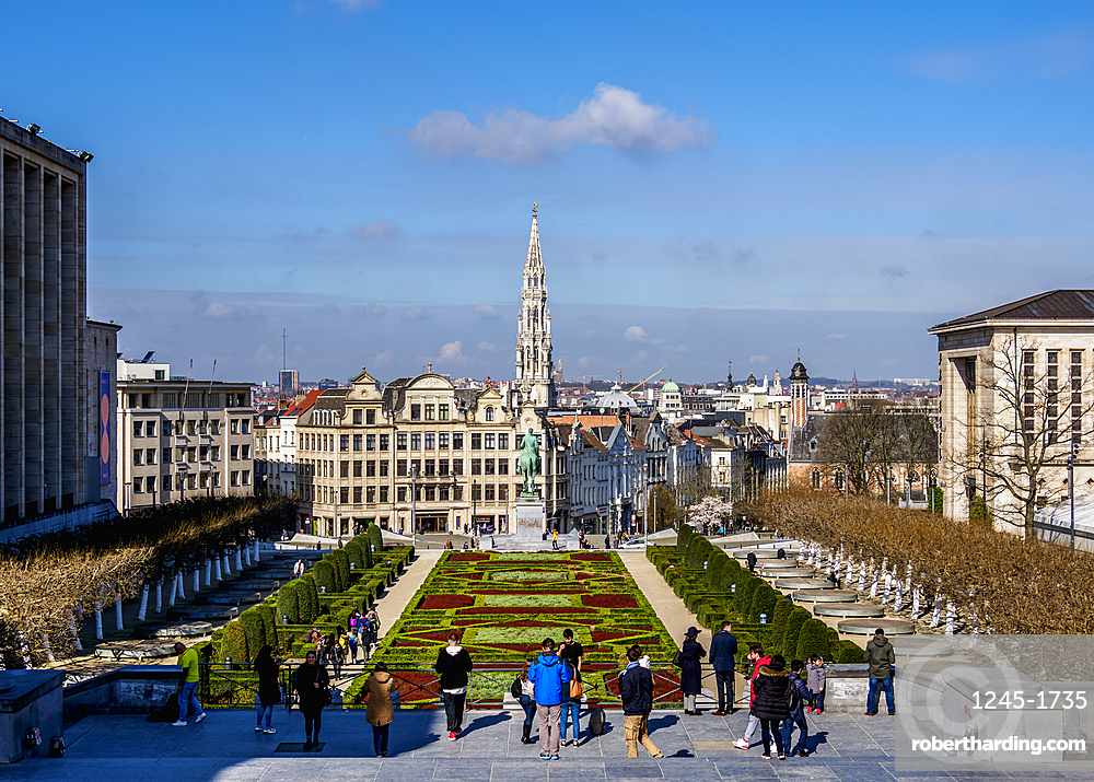 View over Mont des Arts Public Garden towards Town Hall Spire, Brussels, Belgium