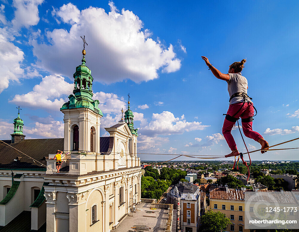 Highlining with Cathedral in the background, Urban Highline Festival, Lublin, Lublin Voivodeship, Poland