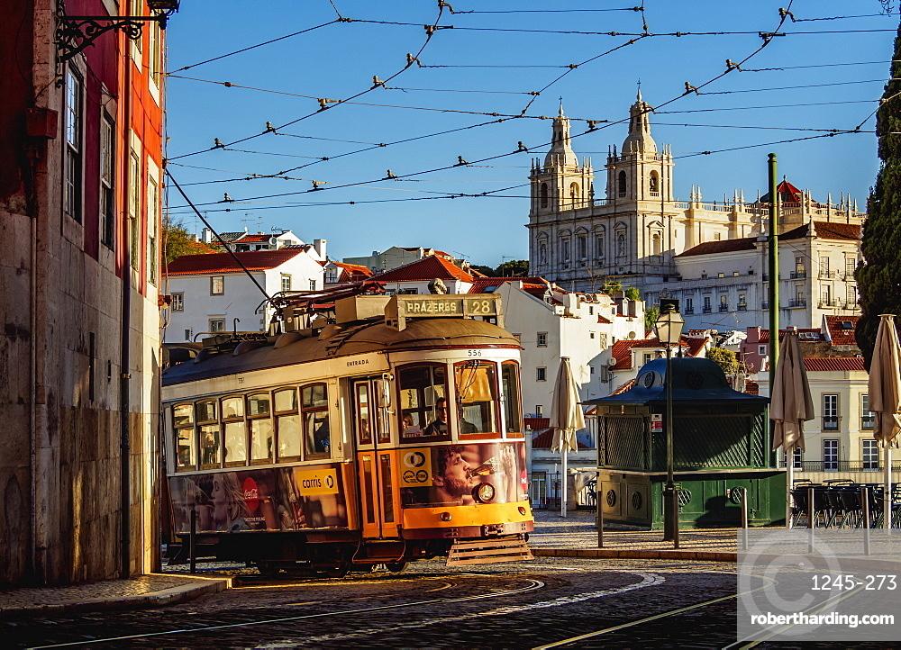 Tram number 28 in Alfama, Lisbon, Portugal, Europe