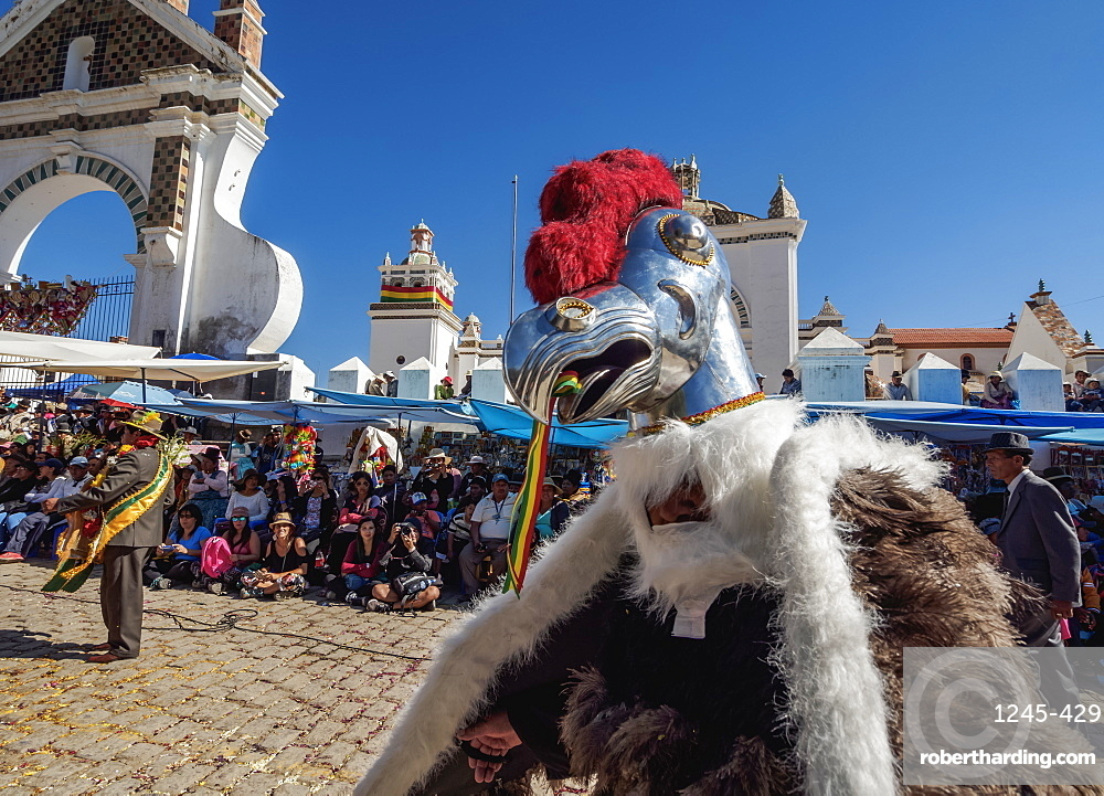 Dancer in Condor costume, Fiesta de la Virgen de la Candelaria, Copacabana, La Paz Department, Bolivia, South America