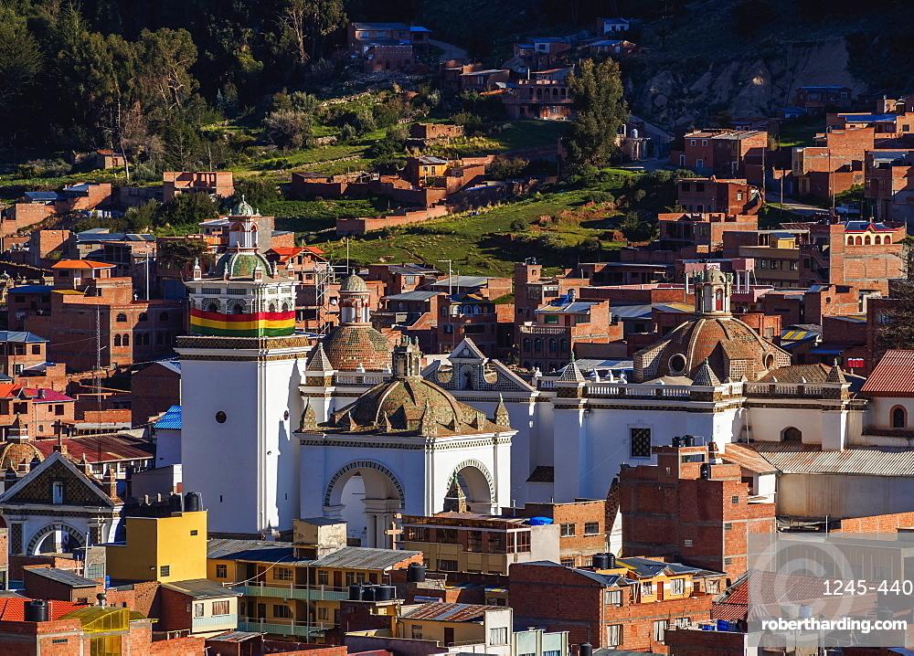 Basilica of Our Lady of Copacabana, elevated view, Copacabana, La Paz Department, Bolivia, South America