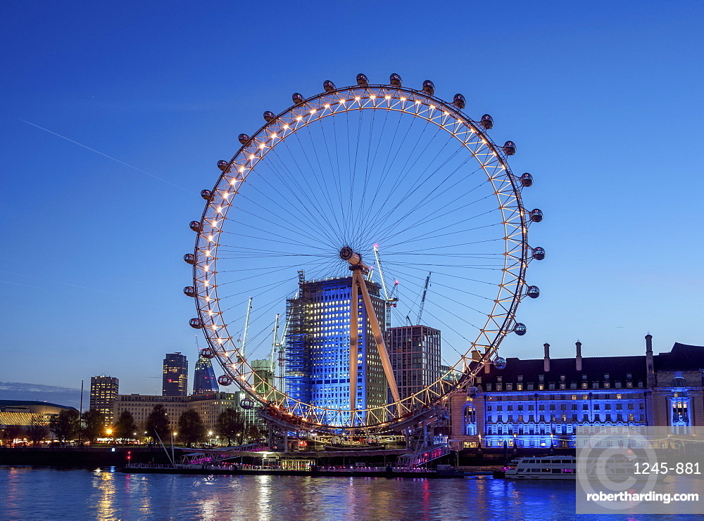 London Eye (Millennium Wheel) at twilight, London, England, United Kingdom, Europe