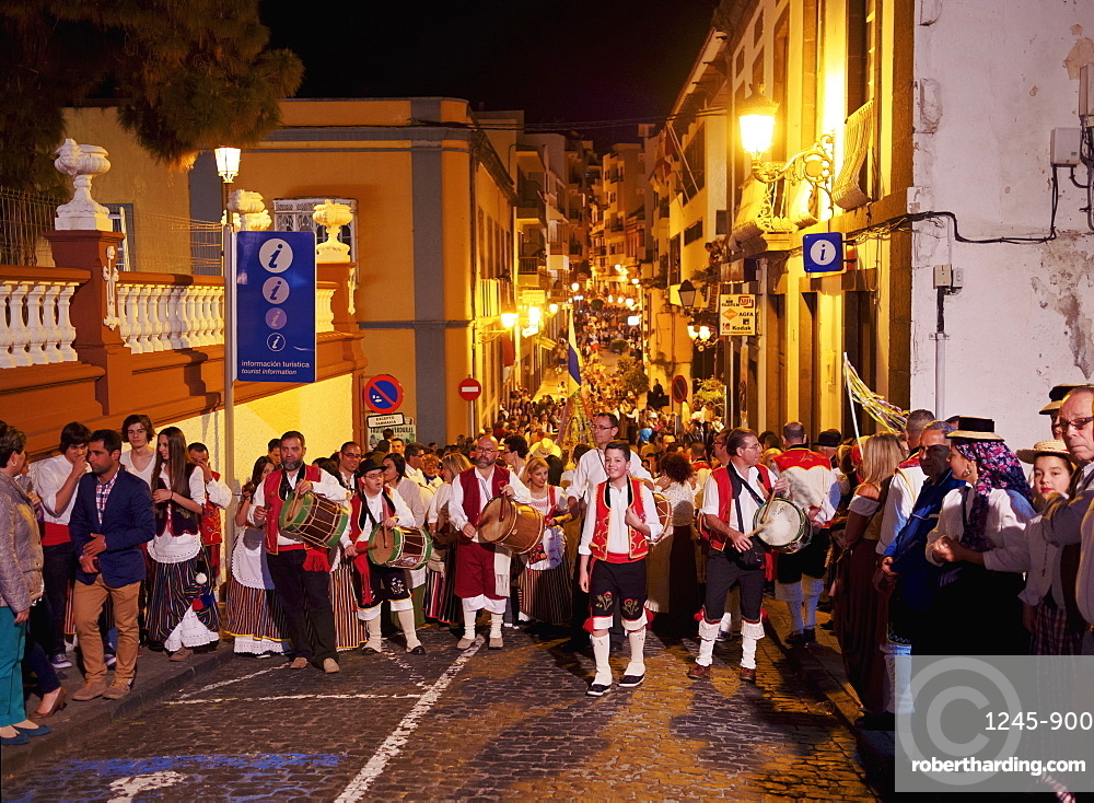 Parade at night, Baile de Magos, traditional street party, Icod de los Vinos, Tenerife Island, Canary Islands, Spain, Europe