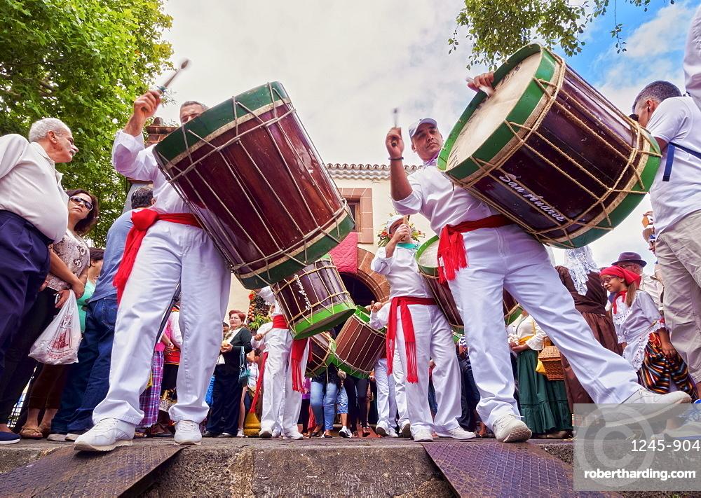Drums in parade, Romeria de San Benito de Abad, traditional street party, San Cristobal de La Laguna, Tenerife Island, Canary Islands, Spain