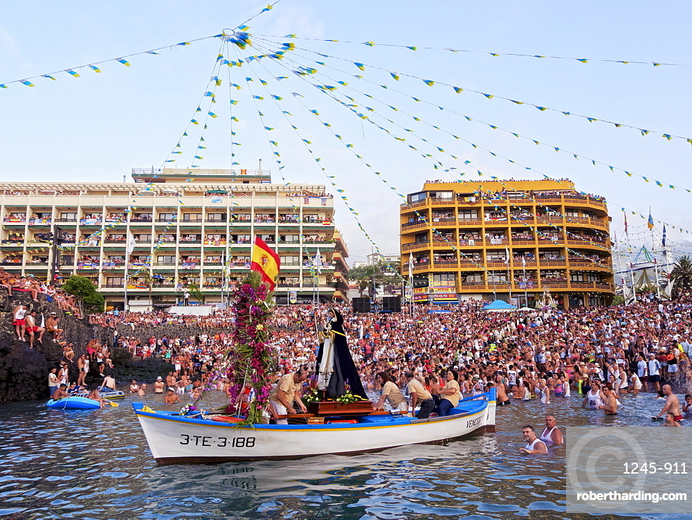 Embarcacion de la Virgen del Carmen, water procession, Puerto de la Cruz, Tenerife Island, Canary Islands, Spain